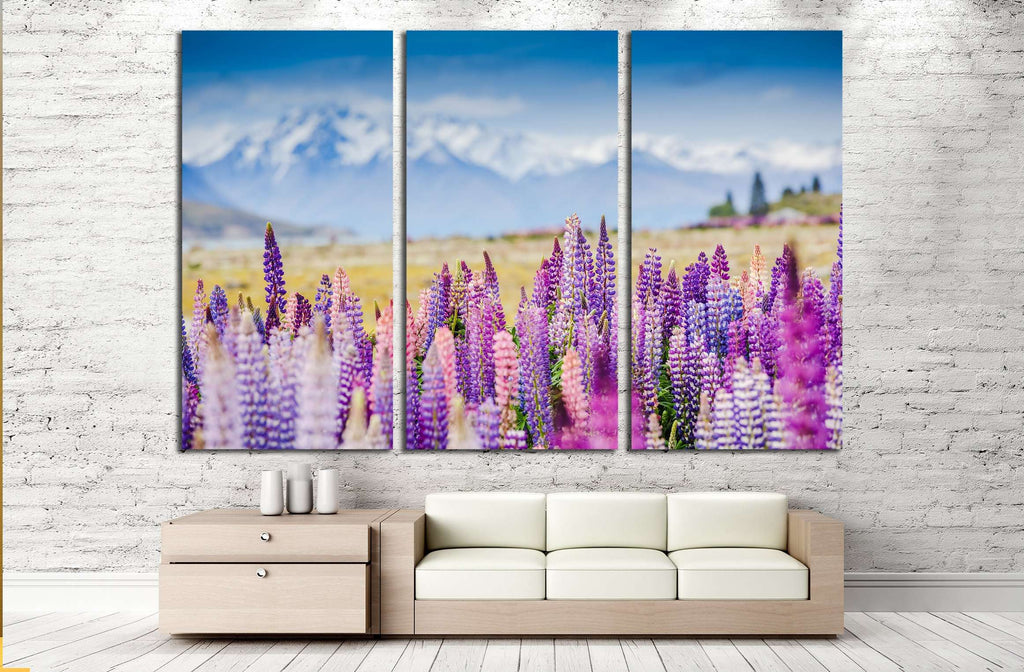 Lupins on the shore of Lake Tekapo, New Zealand №2754 Ready to Hang Canvas Print