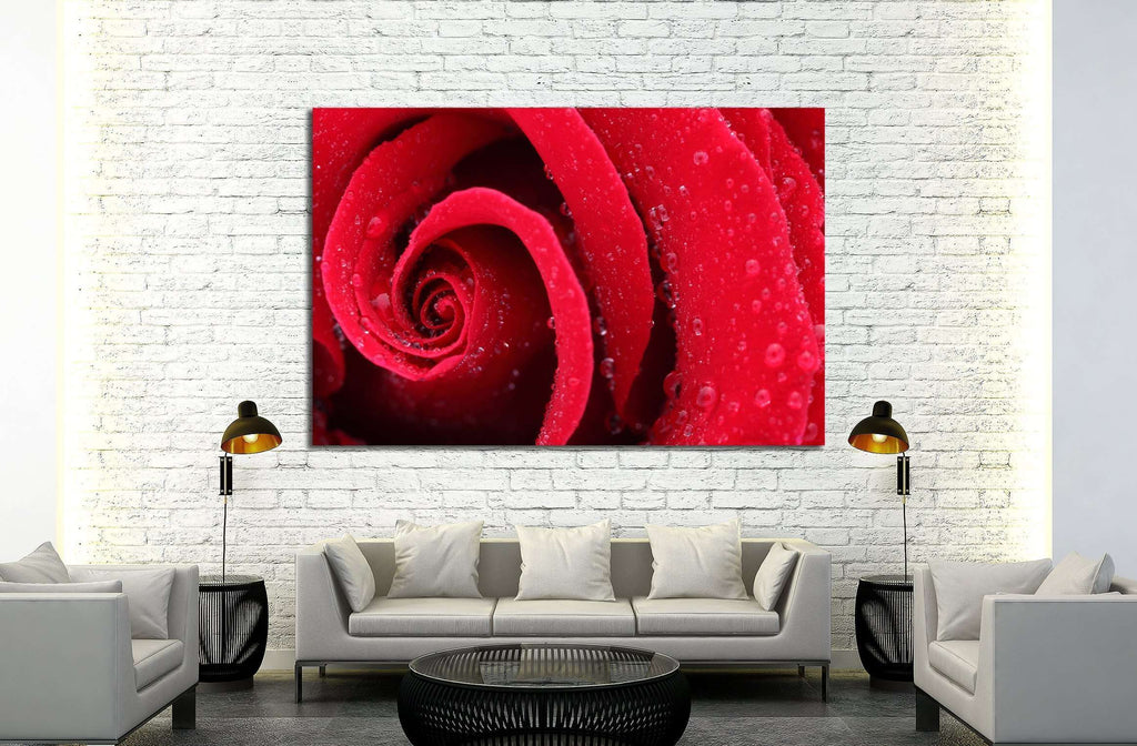 Macro Shot of a Red Rose №2551 Ready to Hang Canvas Print