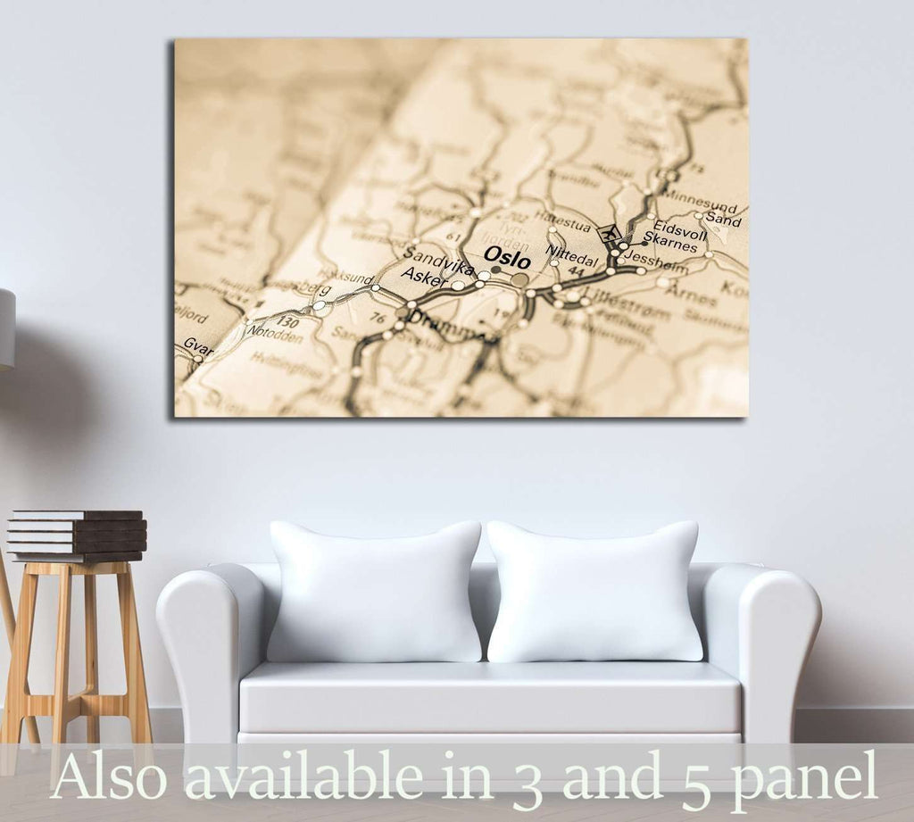 Macro view of Oslo, Norway on map №2102 Ready to Hang Canvas Print