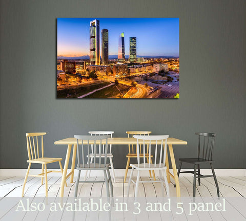 Madrid, Spain financial district skyline at twilight №2999 Ready to Hang Canvas Print