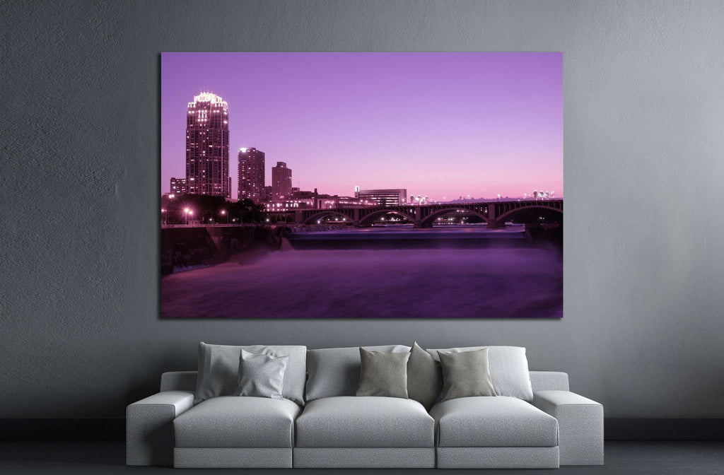 Magic hour in Minneapolis №1726 Ready to Hang Canvas Print