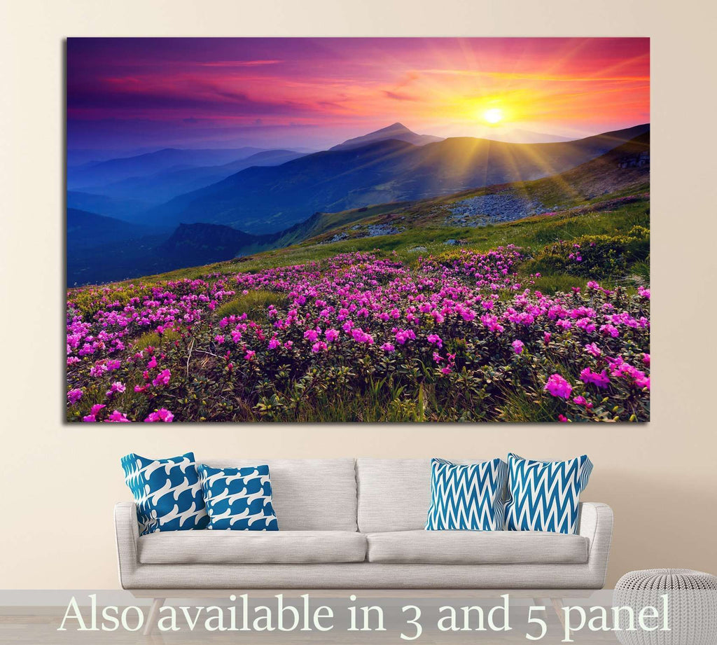 Magic pink rhododendron flowers №849 Ready to Hang Canvas Print