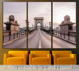 Magnificent Chain Bridge in beautiful Budapest. Szechenyi Lanchid is a suspension bridge that spans the River Danube between Buda and Pest, in the capital of Hungary №2248 Ready to Hang Canvas Print
