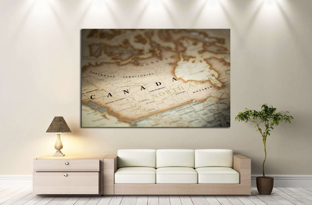 Magnifying Canada on map №2101 Ready to Hang Canvas Print