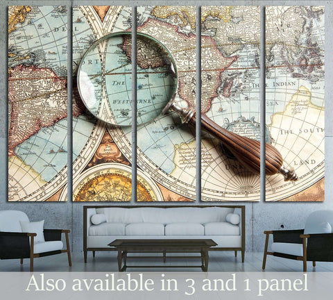Magnifying glass and ancient old map №2813 Ready to Hang Canvas Print