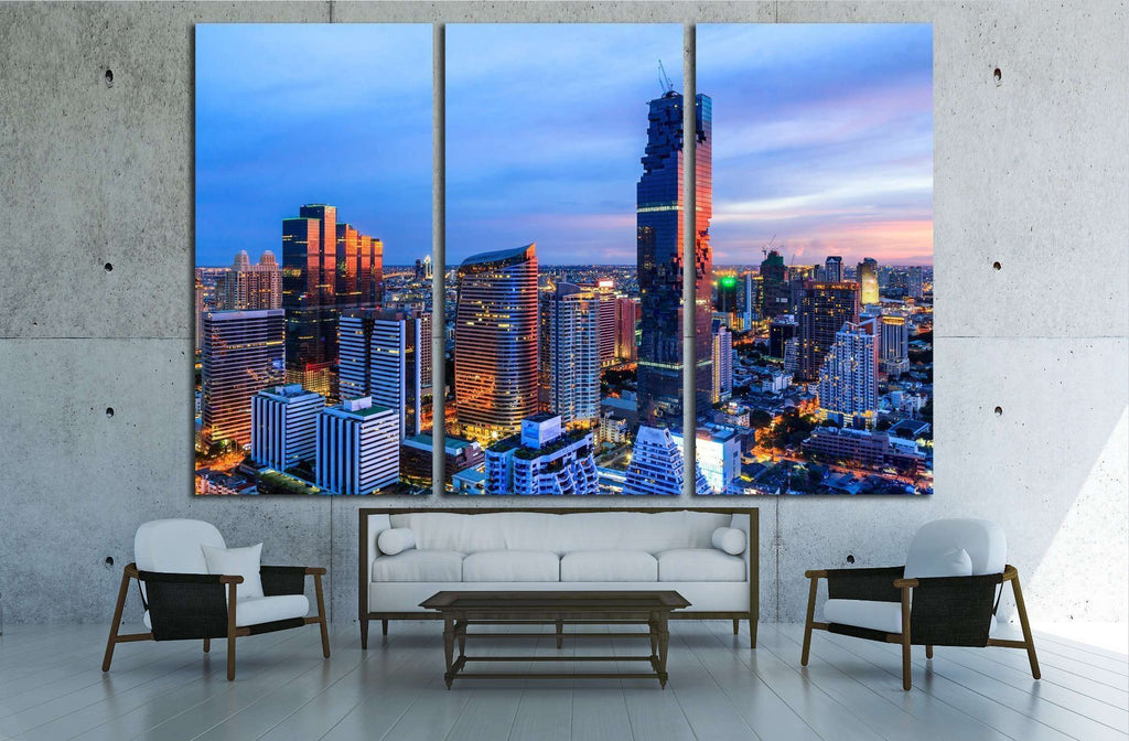 Mahanakorn tower city center business of Bangkok. sunset, Silom area, Bangkok №2206 Ready to Hang Canvas Print