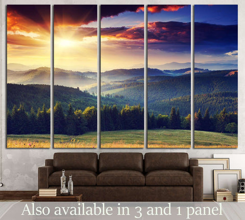 Majestic sunset in the mountains landscape. Dramatic sky. №2681 Ready to Hang Canvas Print