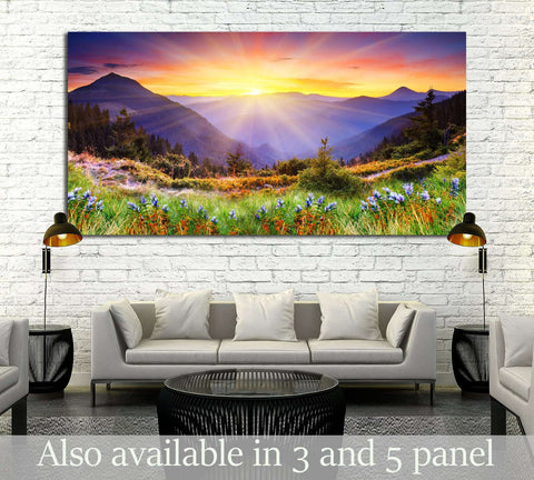 Majestic sunset in the mountains landscape №2669 Ready to Hang Canvas Print
