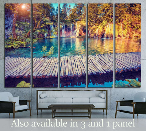 Majestic view canvas print, sunny beams wall art, Plitvice Lakes National Park Ready to Hang Canvas Print №3078
