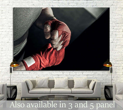 male hand of boxer with red boxing bandages №1384 Ready to Hang Canvas Print