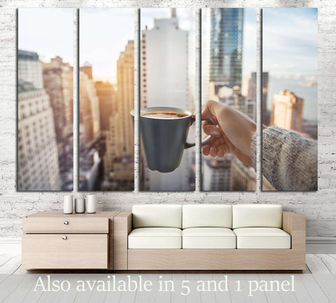 Man holding coffee cup in luxury penthouse apartments with view to New York City Manhattan №2996 Ready to Hang Canvas Print