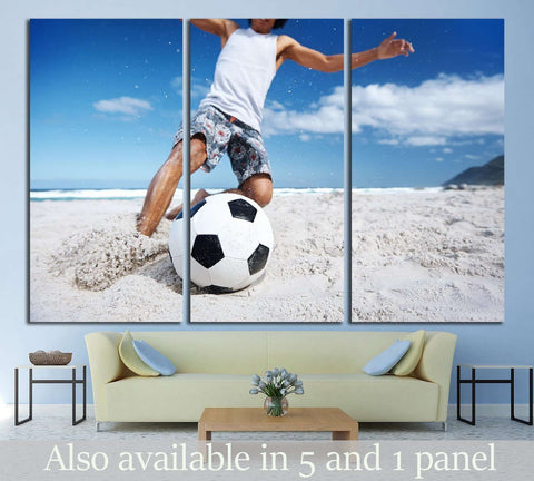 man playing soccer on beach №1372 Ready to Hang Canvas Print