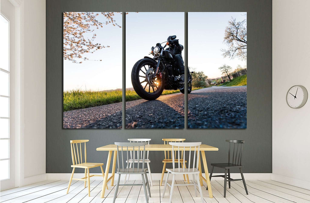 Man sat on motorcycle on the road during sunrise №1874 Ready to Hang Canvas Print