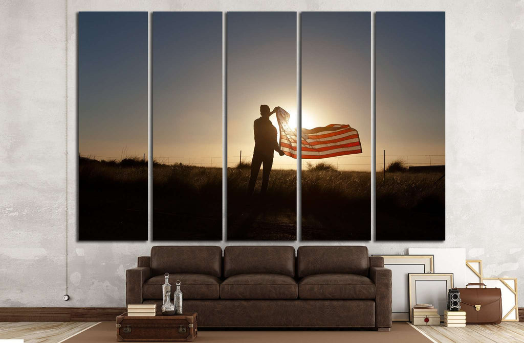 Man waving the American flag at sunset №1286 Ready to Hang Canvas Print