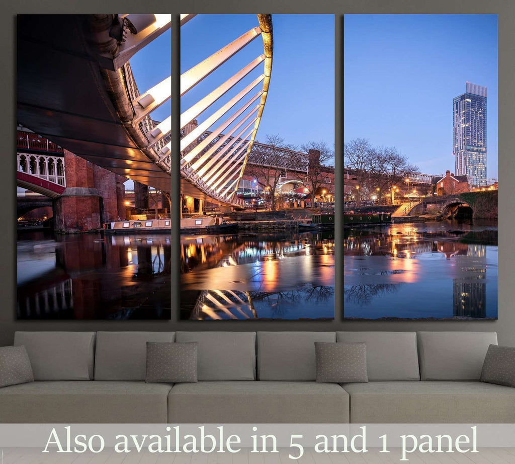 Manchester, North West England, River Irwell, Quay Street, Deansgate and the Chester Road №2051 Ready to Hang Canvas Print