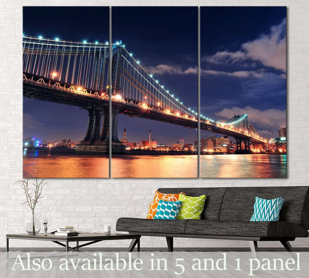 Manhattan Bridge at Night №123 Ready to Hang Canvas Print