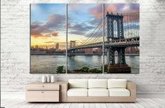 Manhattan Bridge at Sunset №866 Canvas Print