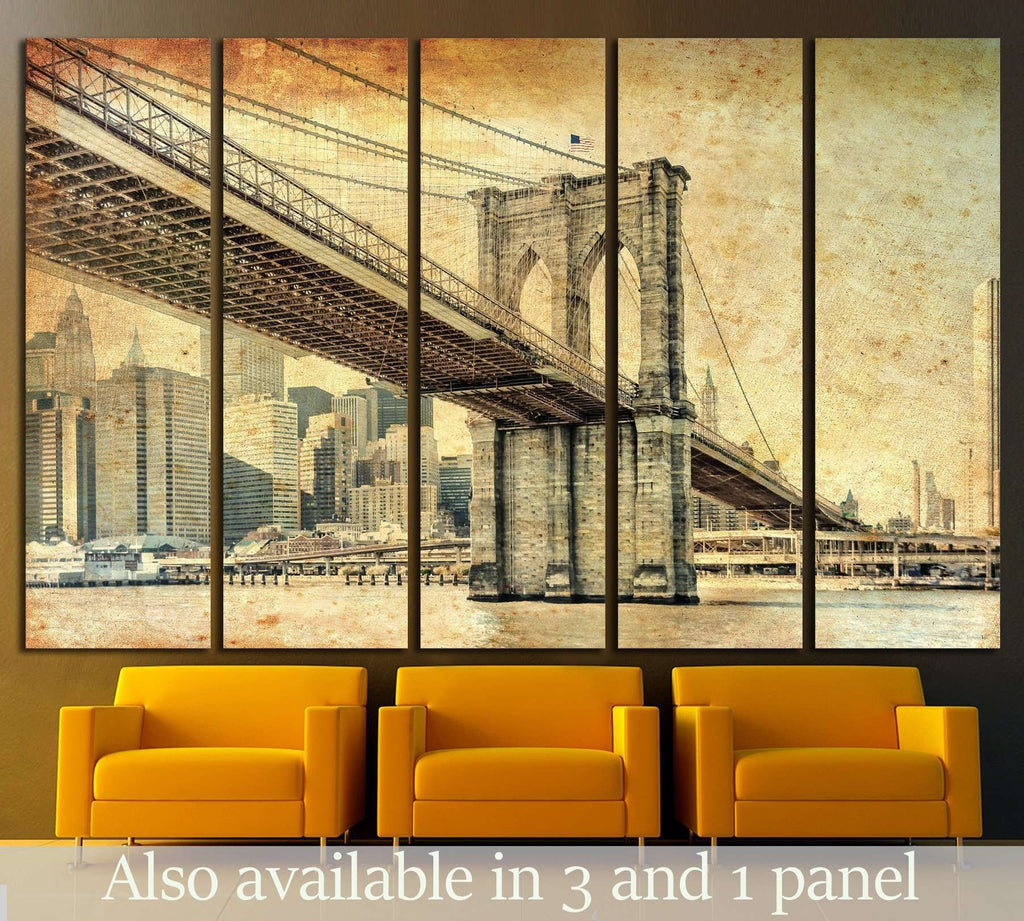 Manhattan Bridge in New York №830 Ready to Hang Canvas Print
