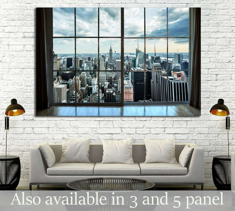 Manhattan New York City Skyline Buildings, Breathtaking Penthouse №2147 Ready to Hang Canvas Print