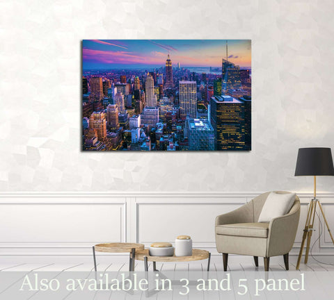 Manhattan Skyline at Dusk №3006 Ready to Hang Canvas Print