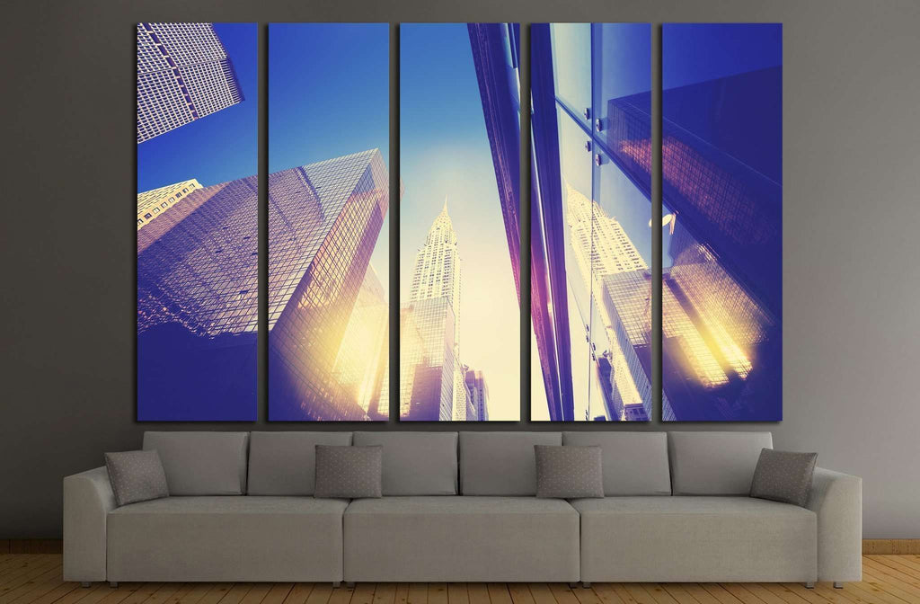 Manhattan skyscrapers at sunset reflected in windows, NYC, USA №1783 Ready to Hang Canvas Print
