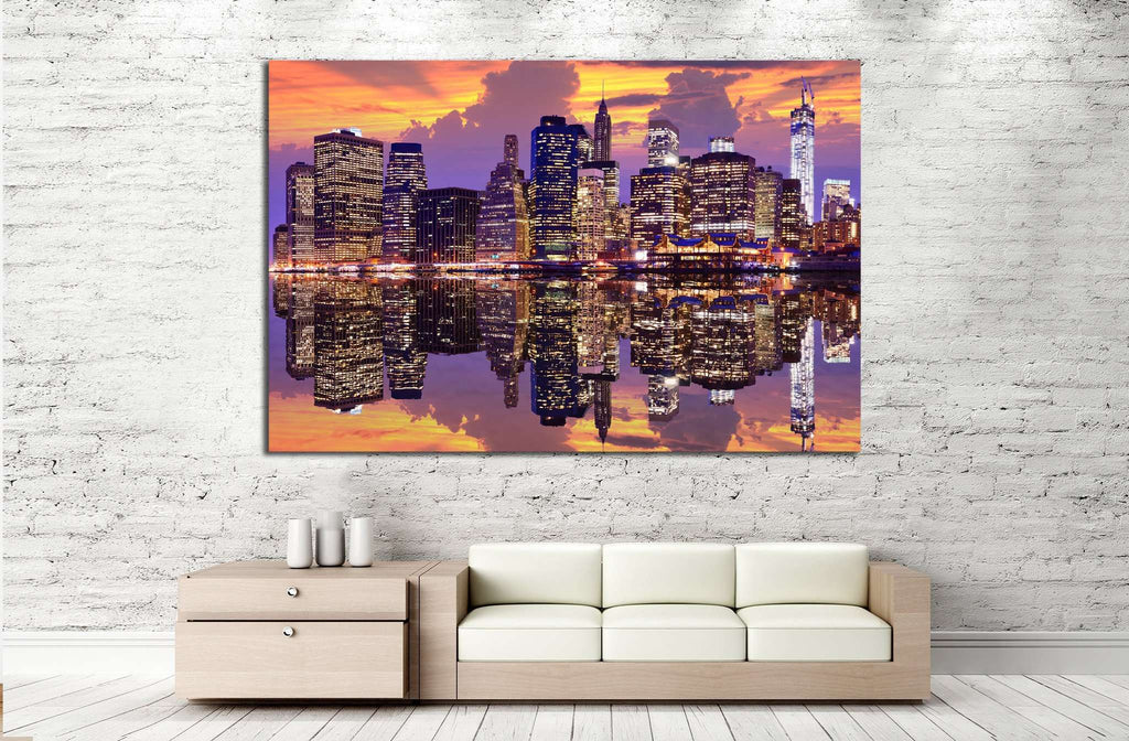 Manhattan with dramatic skyline №853 Ready to Hang Canvas Print