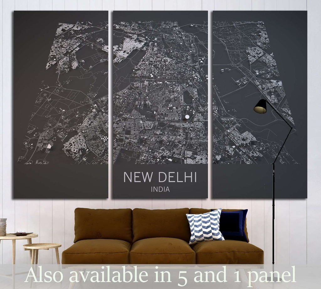 Map of New Delhi, India, satellite view №1824 Ready to Hang Canvas Print