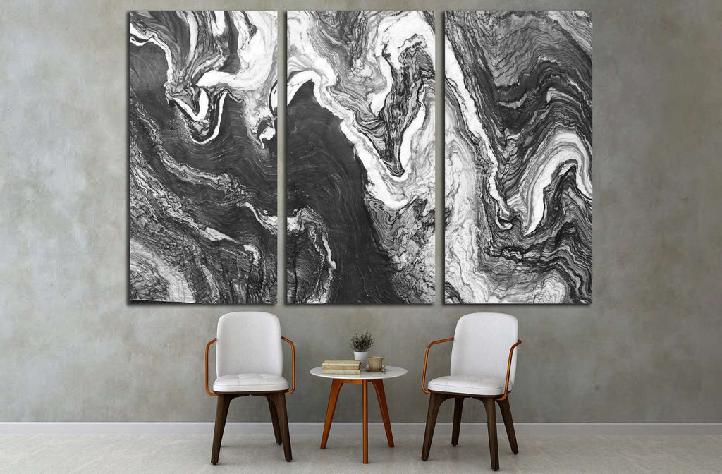marble layers design gray stone №1595 Ready to Hang Canvas Print