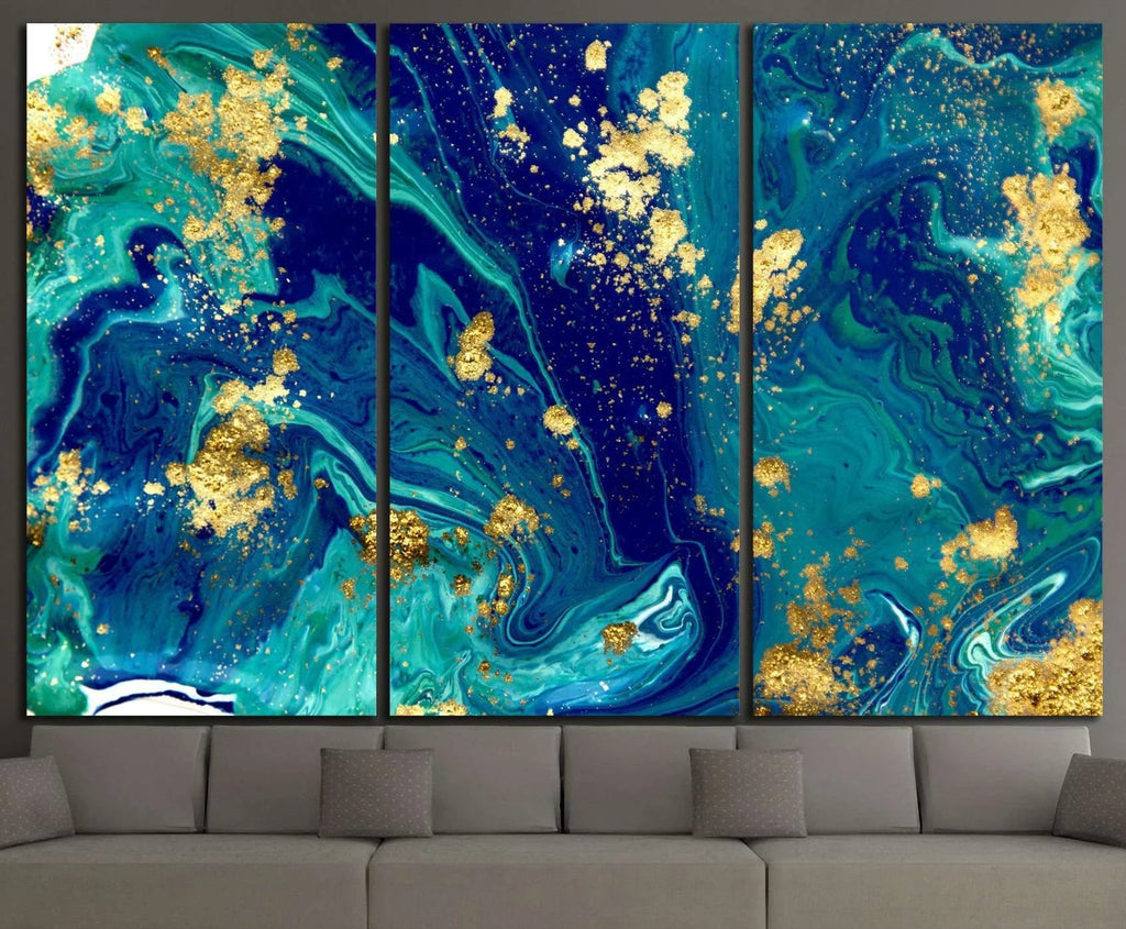 Marbled blue abstract №1060 Ready to Hang Canvas Print