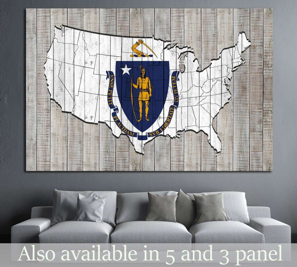Massachusetts flag №677 Ready to Hang Canvas Print