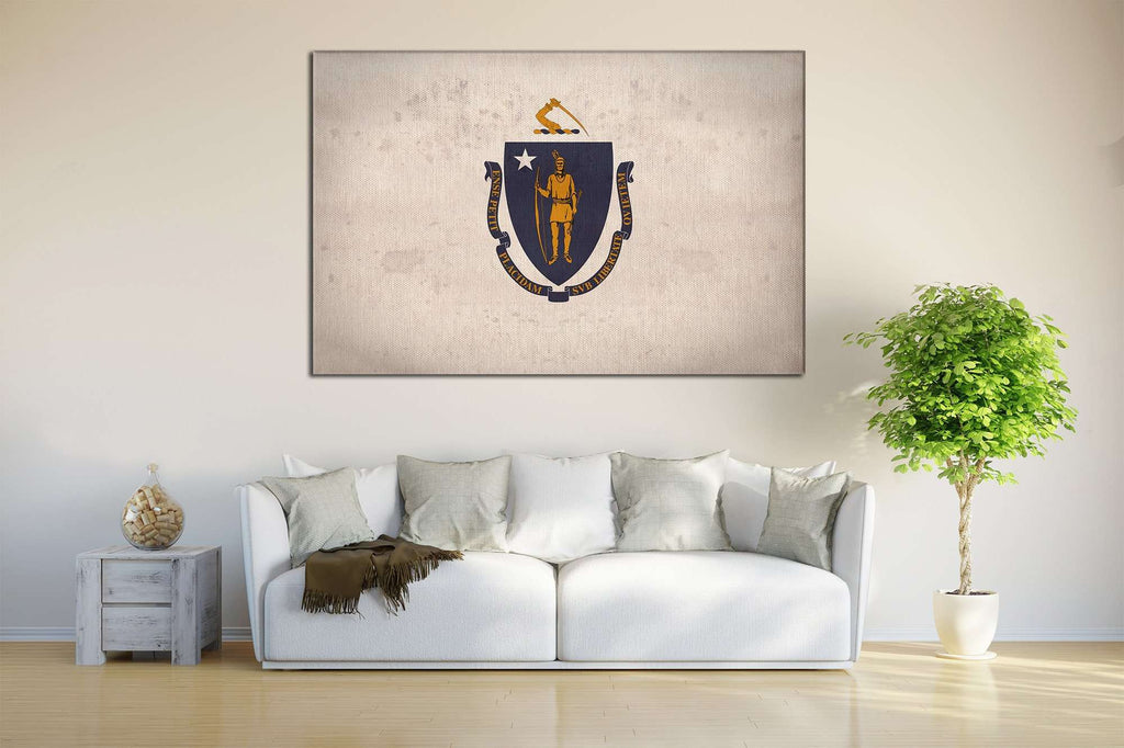 Massachusetts Flag №823 Ready to Hang Canvas Print