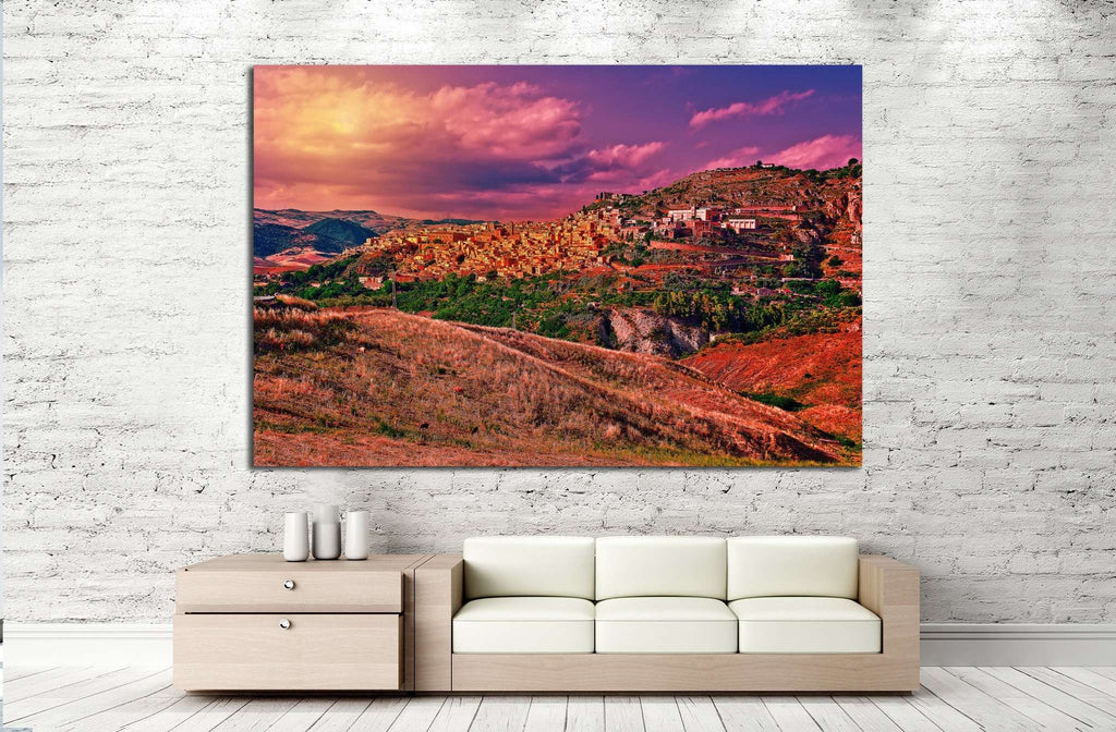 Medieval Town on the Mountain №994 Ready to Hang Canvas Print