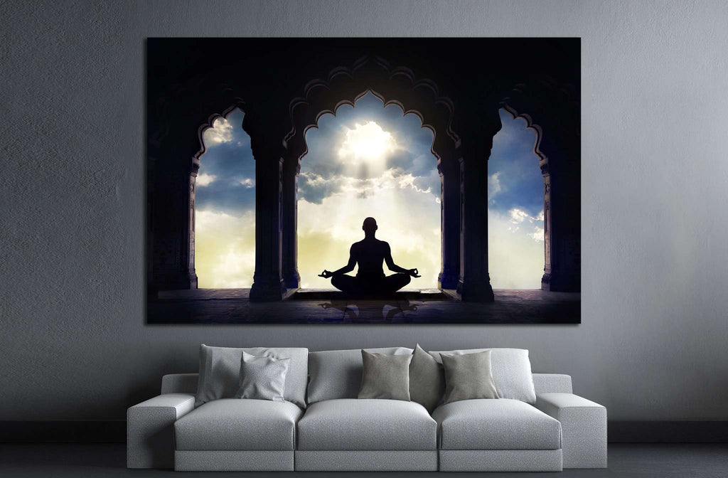 Meditating in old temple №701 Ready to Hang Canvas Print