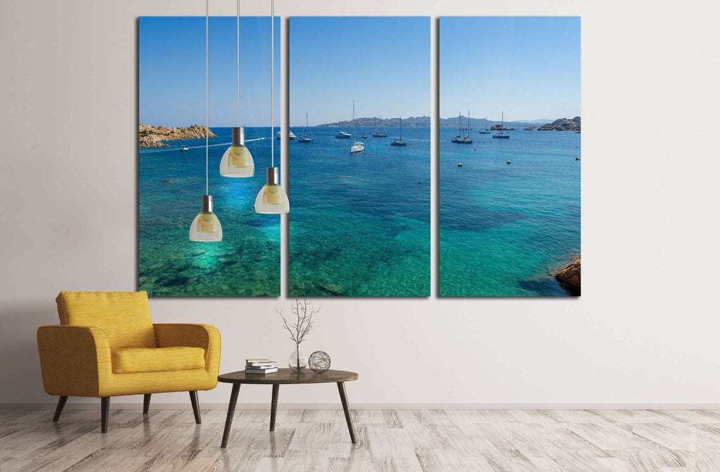 mediterranean bay with sailing boat anchorage. Porto Massimo, Sardinia, Italy №1908 Ready to Hang Canvas Print