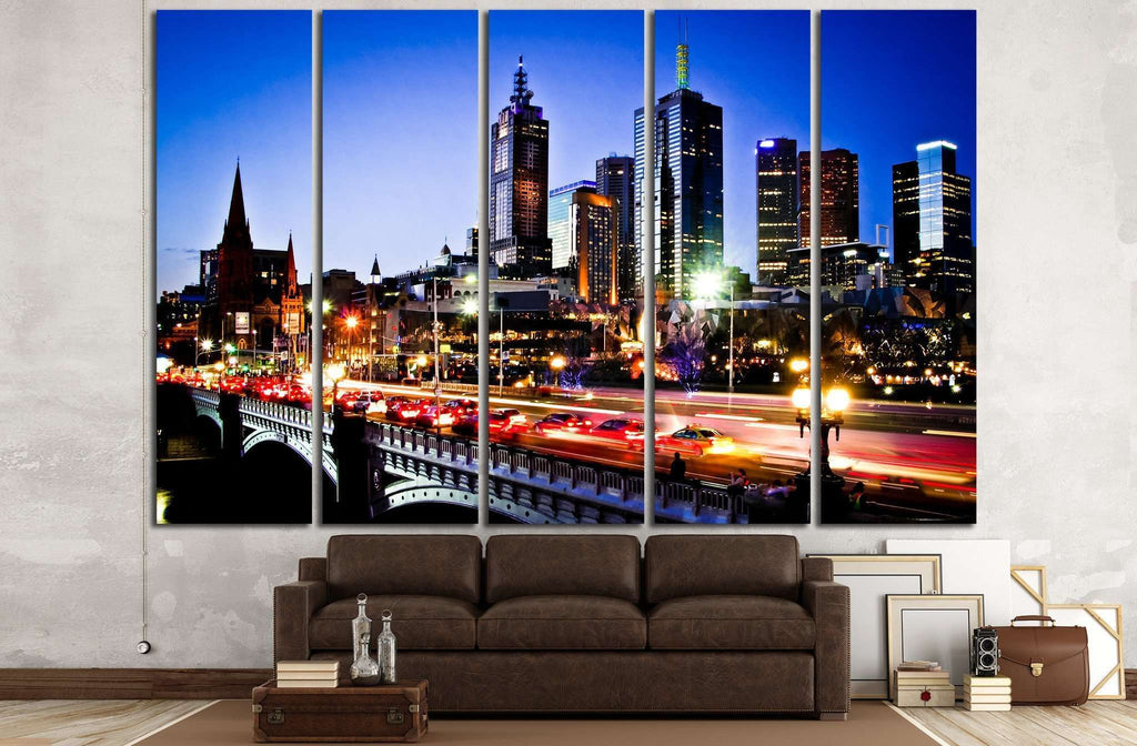 Melbourne by Night №784 Ready to Hang Canvas Print