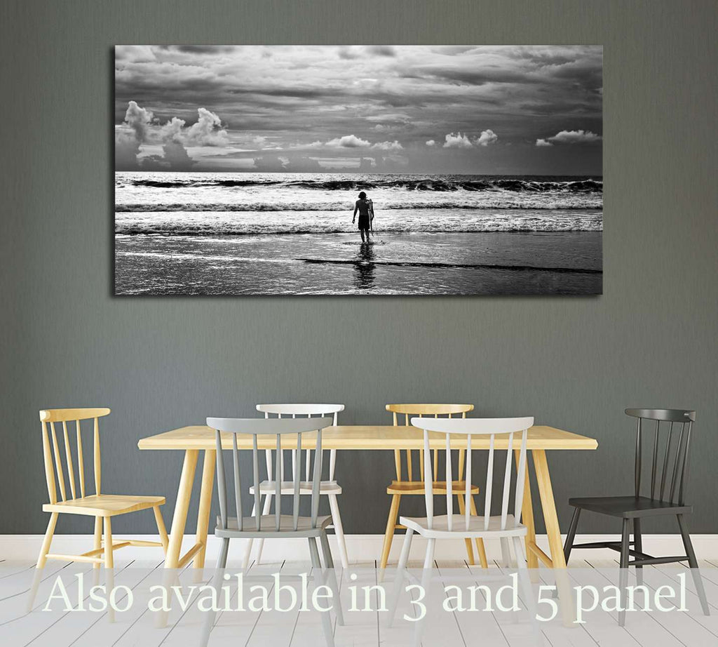Men surfer and ocean. Black-white fine art photo №3250 Ready to Hang Canvas Print