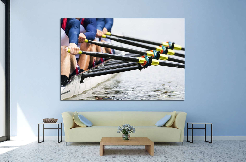 men's quadruple skulls rowing team №1371 Ready to Hang Canvas Print