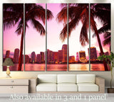 Miami Florida skyline and two palm trees №1266 Ready to Hang Canvas Print