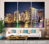 Miami Florida skyline with lights №1264 Ready to Hang Canvas Print