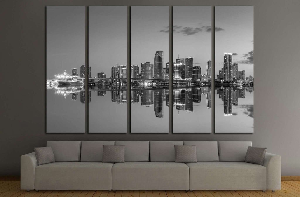 Miami Сity Skyline №528 Ready to Hang Canvas Print