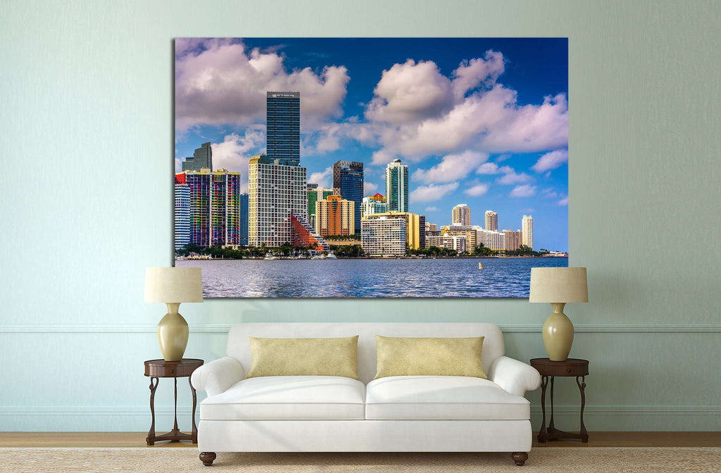 Miami Skyline from Virginia Key, Miami, Florida №1633 Ready to Hang Canvas Print