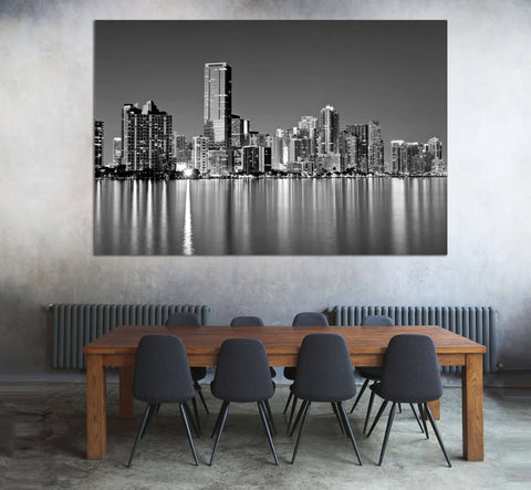 Miami Skyline №1099 Ready to Hang Canvas Print