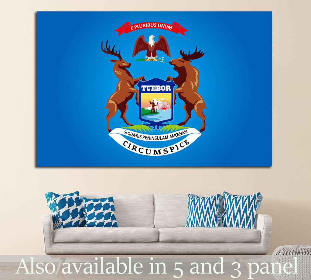Michigan Flag №688 Ready to Hang Canvas Print