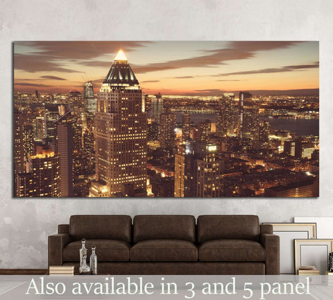 Midtown Manhattan New York skyline at night №1539 Ready to Hang Canvas Print