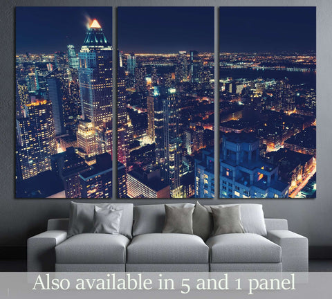 Midtown Manhattan New York skyline at night №3005 Ready to Hang Canvas Print