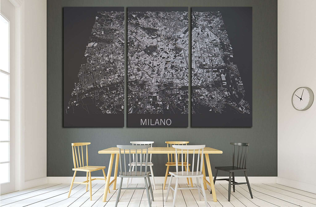 Milan, Italy, satellite map view, map in negative №1821 Ready to Hang Canvas Print