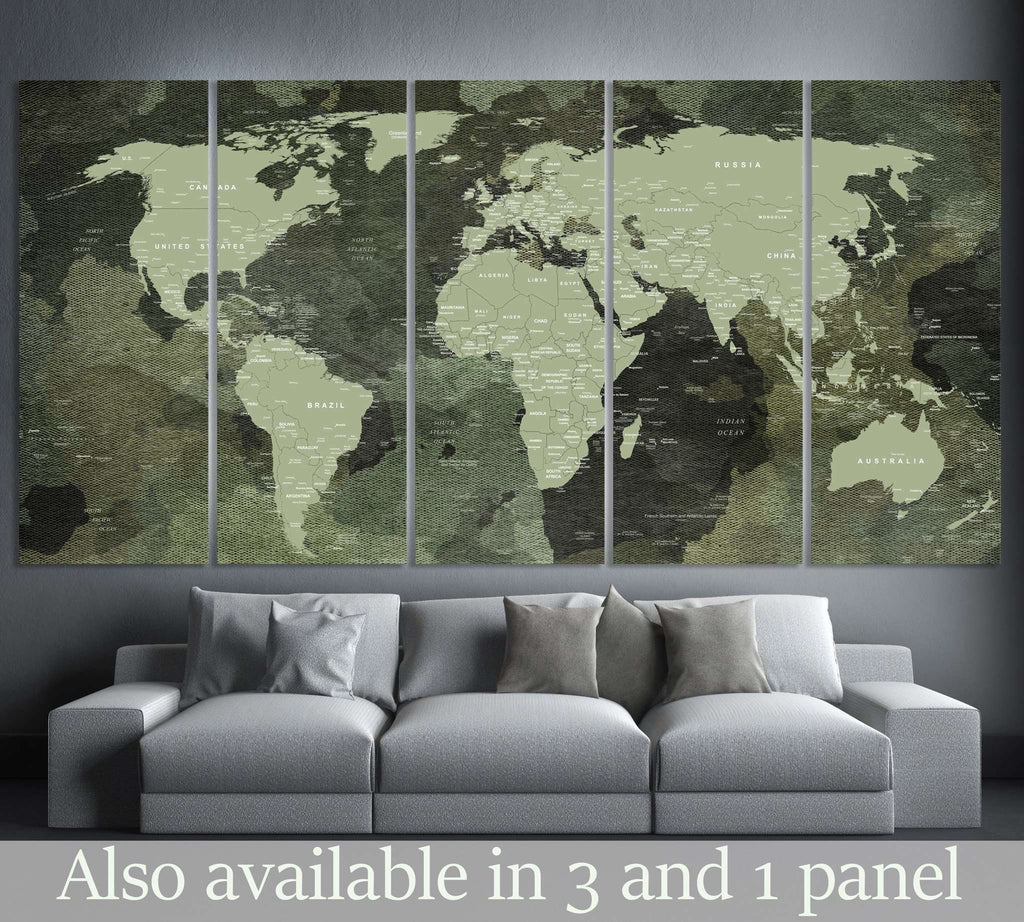 Military World Map №106 Ready to Hang Canvas Print