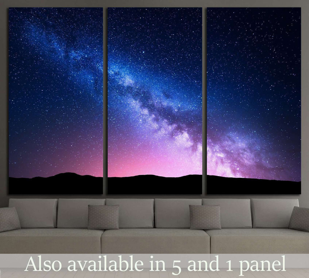 Milky Way and pink light at mountains №1313 Ready to Hang Canvas Print