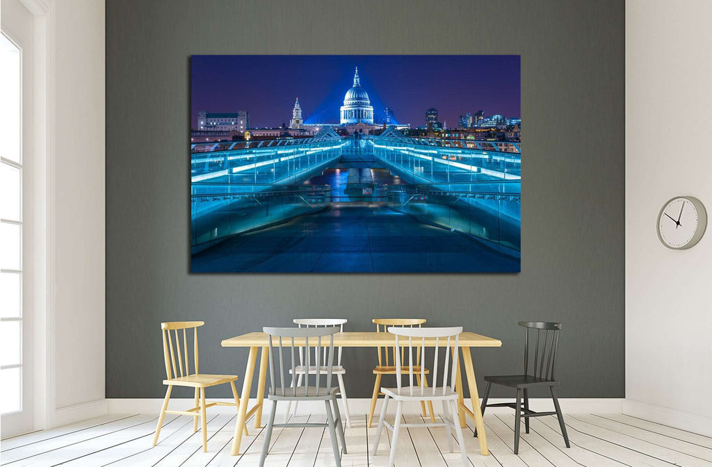 Millennium Bridge leading to Saint Paul's Cathedral, London, UK №1680 Ready to Hang Canvas Print