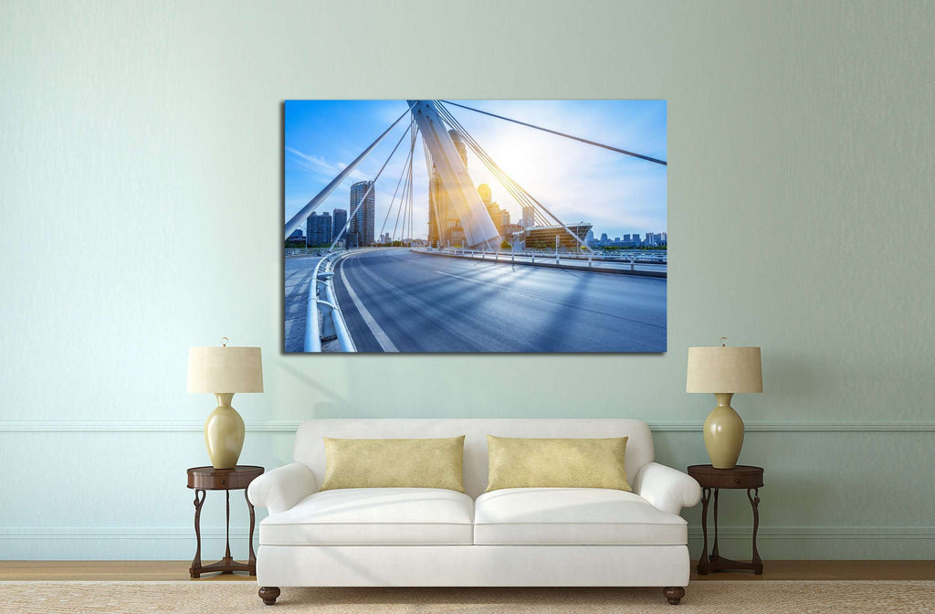 modern buildings with empty road under blue sky,tianjin china №2207 Ready to Hang Canvas Print